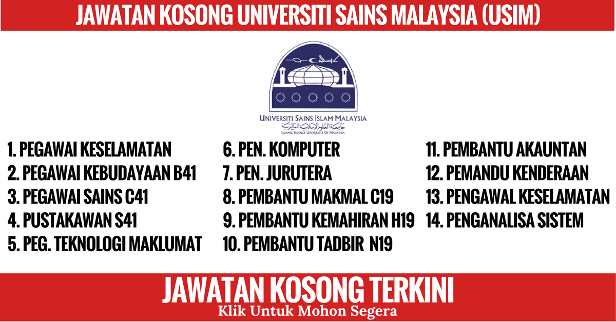Jawatan Kosong Universiti Sains Malaysia (USIM)