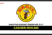 Jawatan Kosong Terkini Cashier Di Mr. D.I.Y. Trading
