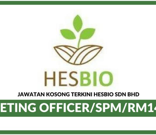 Jawatan Kosong Terkini Marketing Officer Di Hesbio Sdn Bhd