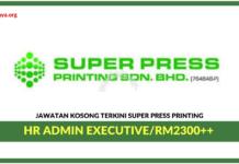 Jawatan Kosong Terkini HR Admin Executive Di Super Press Printing